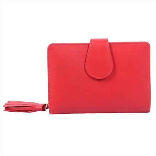 Ladies Red Leather Zip Wallet