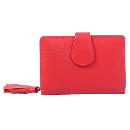 Ladies Red Leather Zip Wallet