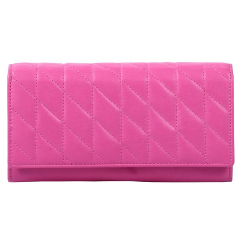 Ladies Pink Leather Snap Wallet