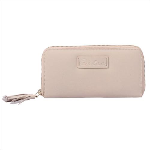 Ladies Beige Leather Zip Wallet
