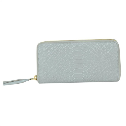 Ladies Metallic Silver Leather Zip Wallet