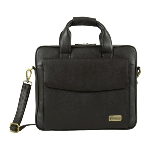 Mens Dark Brown Leather Slim Laptop Bag