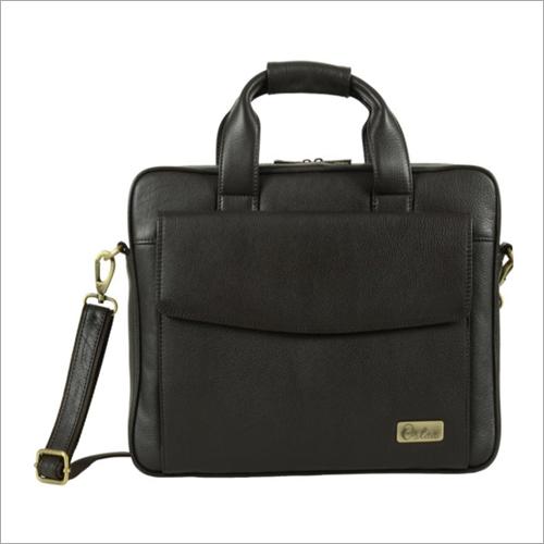 Mens Dark Brown Leather Slim Laptop Bag