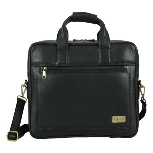 Mens Black Leather Laptop Bag