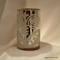 Antique Silver Finish Candle Holder