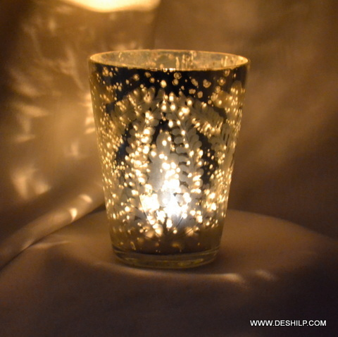 Modern Glass Silver Candle Holder