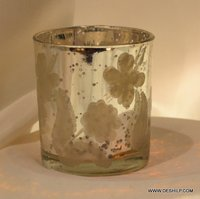 Indian Glass Silver Finish Candle Holder