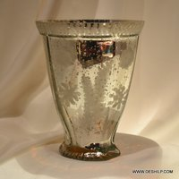 Antique Cutting Glass Silver Candle Holder