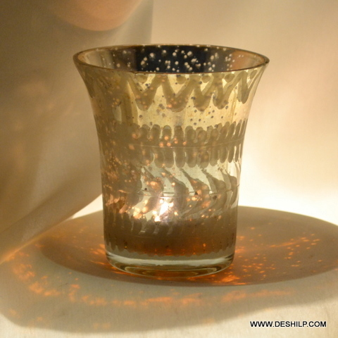 Very Small Silver Glass Candle Holder