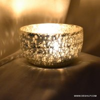T Light Candle Holder With Silver Finish