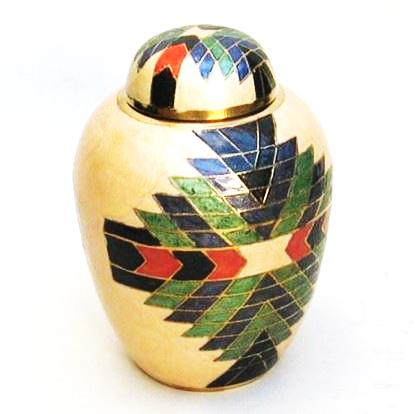 Aztec Design Brass Urn Screw on Top