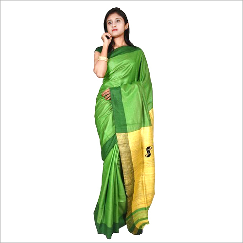 Ladies Tussar Staple Ghicha Slik Saree