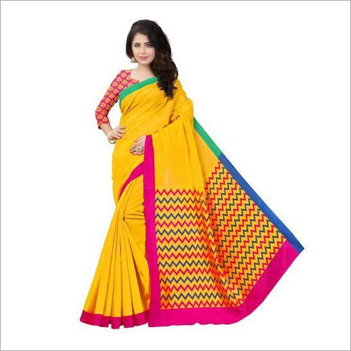 Ladies Yellow Bhagalpuri Saree
