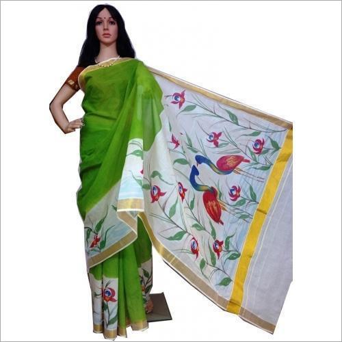 Ladies Floral Hand Printed Saree