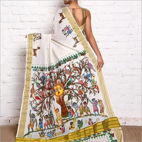 Ladies Fancy Hand Printed Saree