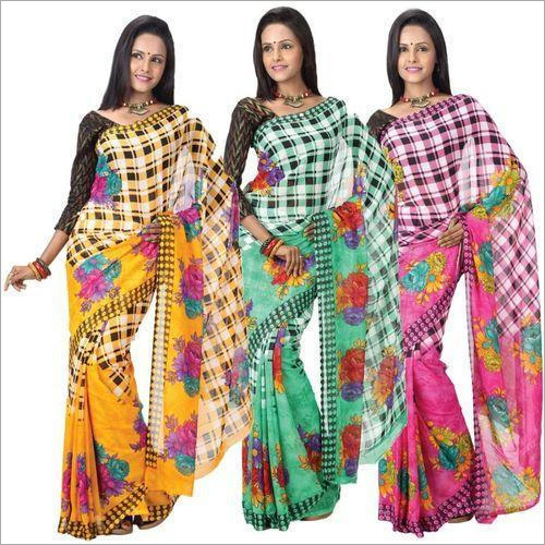 Ladies Check Cotton Saree