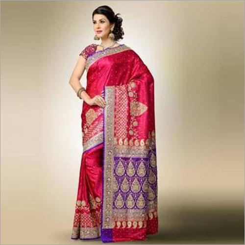 Ladies Pink Party Wear Banarasi Saree