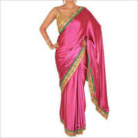 Ladies Pink Kundan Work Saree