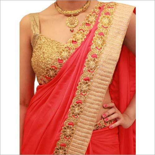 Ladies Red Kundan Work Saree