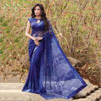 Ladies Navy Blue Net Saree