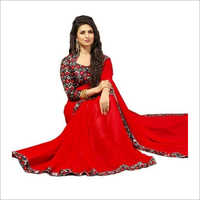 Ladies Red Plain Saree
