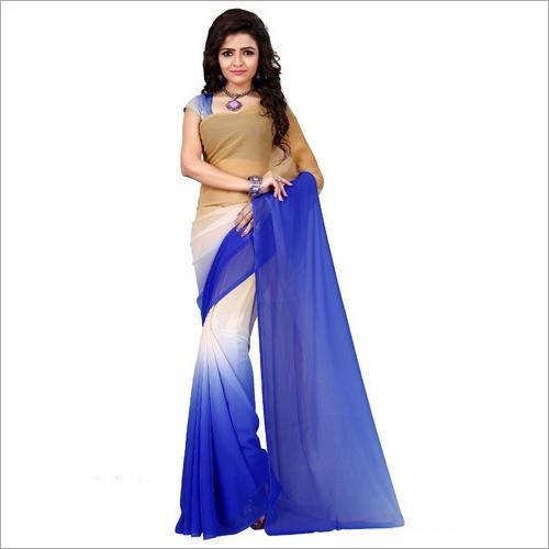 Ladies Double Shaded Plain Saree