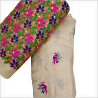 Ladies Linen Embroidery Work Saree