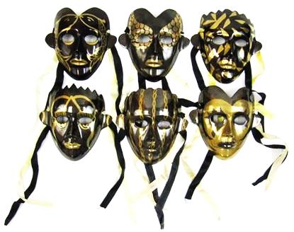Brass Masks Black and Gold (set of 6)