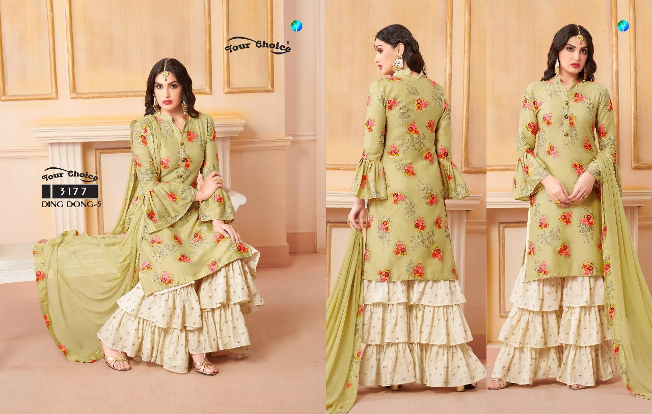 Printed suits with sharara
