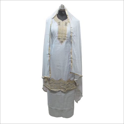 Ladies Cotton White Semi Stitched Kurta