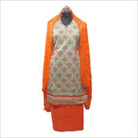 Ladies Cotton Orange Semi Stitched Kurta