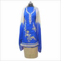 Ladies Blue Printed Unstitched Kurta