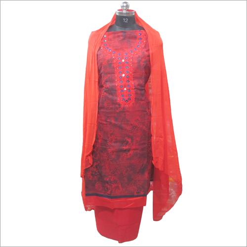 Ladies Cemric Red Printed Unstitched Kurta
