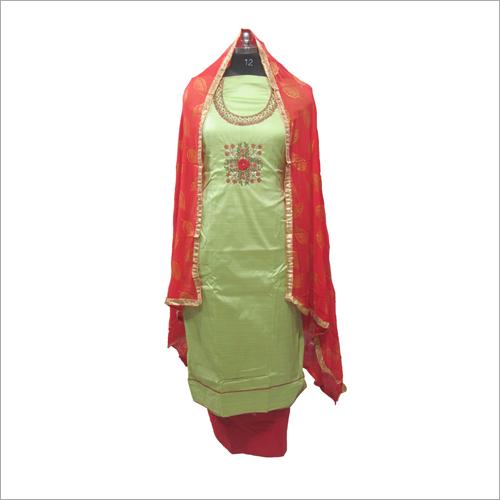 Ladies Chanderi Silk Unstitched Kurta