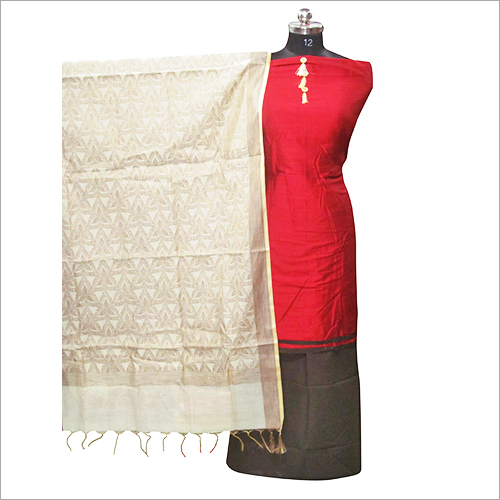 Red Banarsi Silk Unstitched Kurta