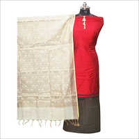 Red Banarsi Silk Unstitched Kurta