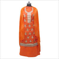 Ladies Orange Unstitched Suit