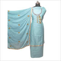 Ladies Printed Sky Blue Unstitched Suit