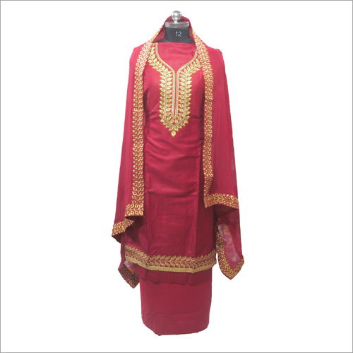 Glace Cotton Red Unstitched Suit
