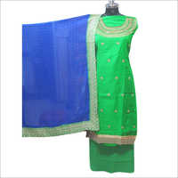 Ladies Satin Green Salwar Unstitched Suit