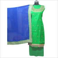 Ladies Satin Green Salwar Unstitched Suit