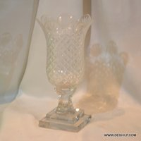 Antique Heavy Cutting Glass Hurricane Candle