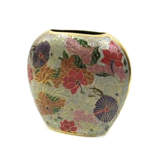 Brass Vase Red and multicolor floral vase
