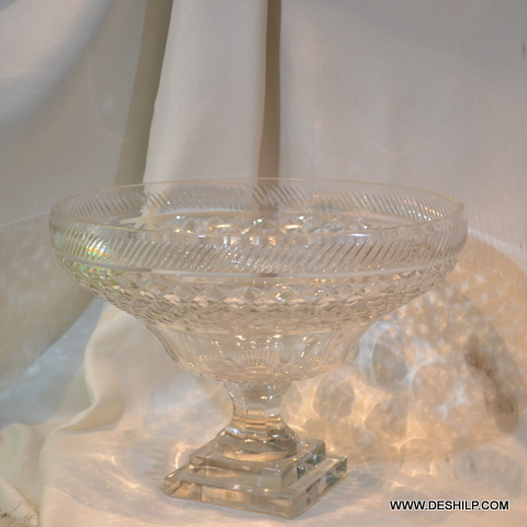 Crystal Cutting Glass Fruits Bowl