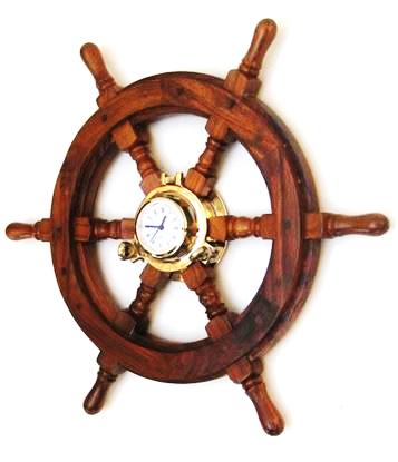 Antique Porthole Clock Wooden Ship Wheel  24 Inch