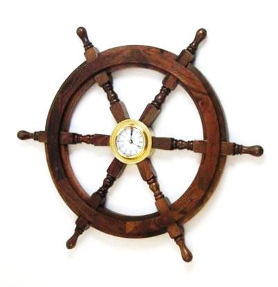 Wooden Clock Ship Wheel 24 Inch