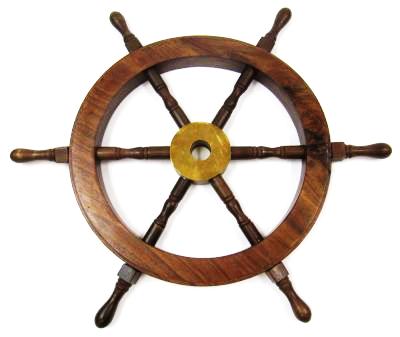 Antique Wooden Ship Wheel 18 Inch