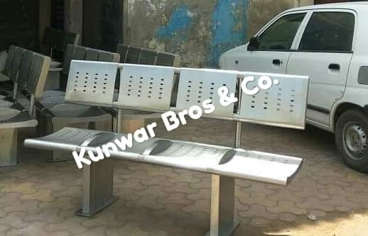 Stainless steel railway platform bench