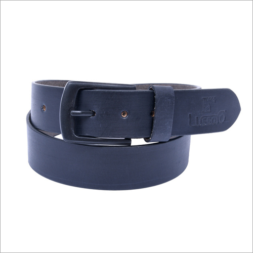 Mens Dark Blue Leather Belt