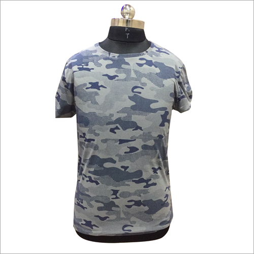 Mens Camouflage Round Neck T Shirt